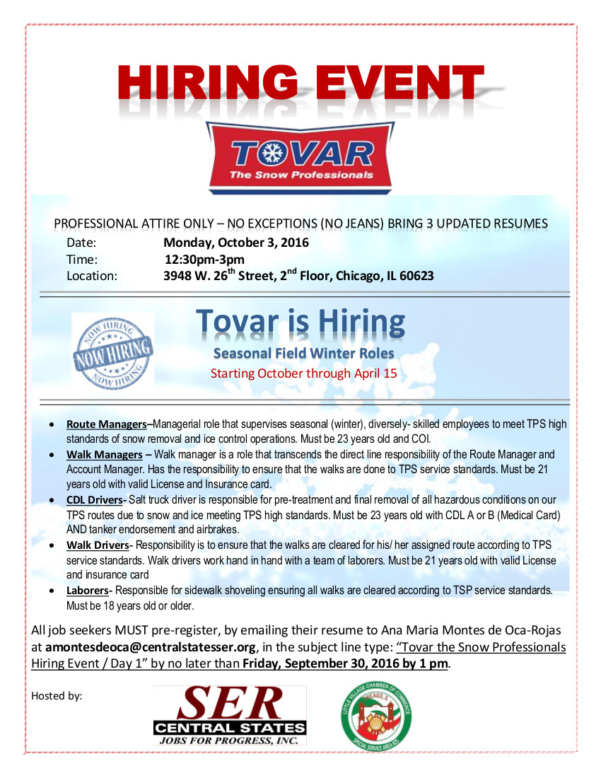 Tova Hiring Event - October 3